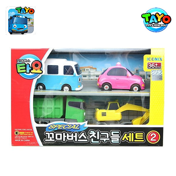 TAYO MINI CAR SET 4 STYLES 2 (HEART, MAX, POCO, BONGBONG)